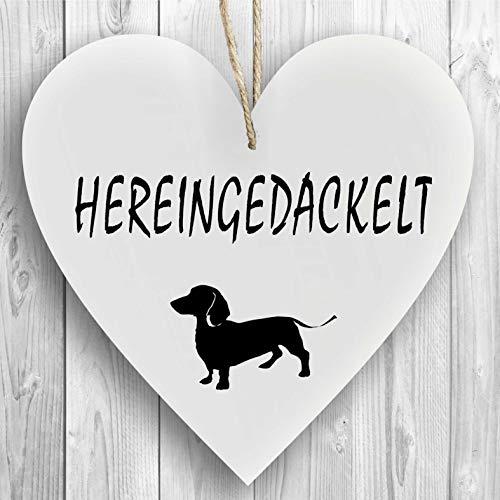 Herzschild Holzherz Holzschild 16 x 16 cm Hereingedackelt weiß Dekoschild Wandschild Schild Holz Willkommen