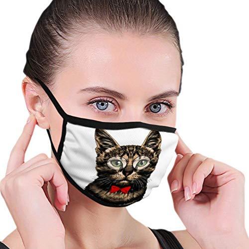 Cara de gato a rayas con gafas y pajarita roja, pañuelo unisex reutilizable, bufanda bucal, lavable para la boca, decoración facial antipolvo, bufanda facial para hombres y mujeres