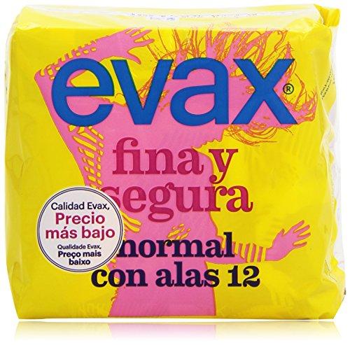 Evax Fina y Segura Normal Compresas Con Alas - 12 Unidades