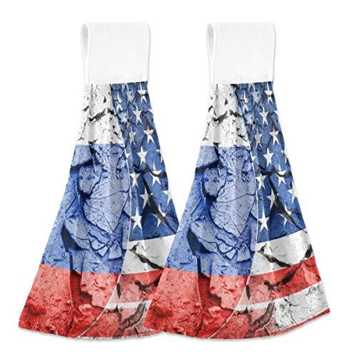 Toallas de cocina para colgar 2 piezas, bandera de Estados Unidos contra Rusia para colgar bucles suaves de terciopelo coral súper absorbentes toallas de mano para cocina