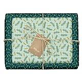dabelino - Papel de regalo ecológico para adultos: ramas de abeto / cuadros (moderno, elegante, verde), incluye 4 colgantes en el juego, hojas de papel de regalo de Navidad de doble cara