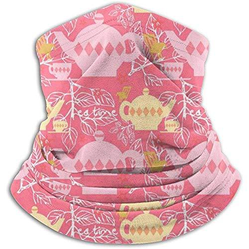 Linger In Teekannen-Muster-Rosa-Halswärmer-Schal-Gamaschen-Gesichtsmasken-Bandanas für Staub-Winter des kalten Wetters draußen