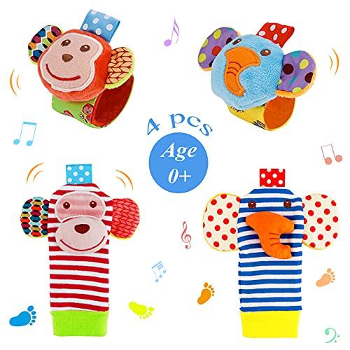 Sonajeros de Muñeca Bebe Sonajero de Pies y Manos Juguetes de Desarrollo Animal Lindo Calcetines Sonajero para 0-12 Meses Recién Nacido Niño Niñas (Azul)