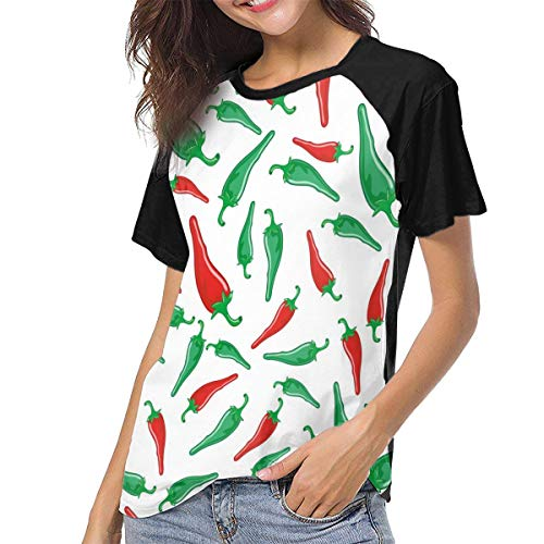 Ygoner Women's Short Sleeve T-Shirt Red Green Hot Chili Peppers Women's Personalized Baseball Raglan Tee T Shirts