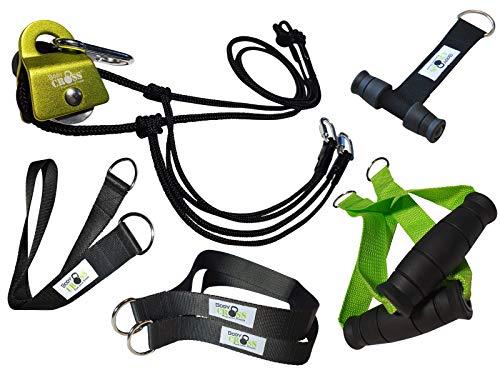 PREMIUM Schlingentrainer mit Umlenkrolle | Poster mit Übungen, 10-Wochen Trainingsplan, Türanker und Befestigungsschlaufe | Slingtrainer mit Umlenkrolle | Made in Germany | 10 Jahre Garantie