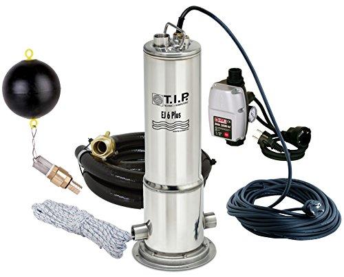 T.I.P. 30164 Zisternen-Tauchdruckpumpe Edelstahl EJ 6 Plus mit Anschlusszubehör und elektronischer Pumpensteuerung, bis 6.300 l/h Fördermenge