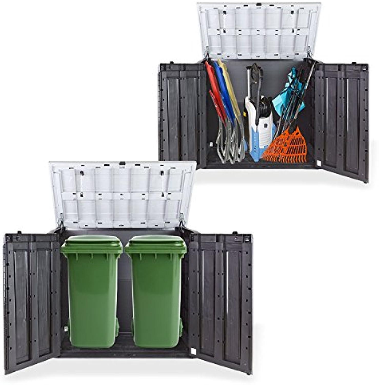 Gartenbox Mülltonnenbox Gertebox Schuppen für 2X 240 Liter Mülltonnen