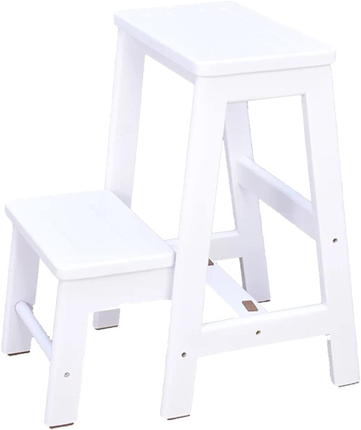 Step Stool Multifunction Staircase Stool Rubber Wood Step Stool,2 colors 2 Step Portable Utility Ladder (color   White)