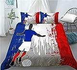 RIXI Juego De Funda Nórdica Fútbol Francés Juegos De Cama Bandera De Fútbol,1 Fundas Nórdicas con 2 Fundas De Almohada (3PCS) O Sábana (4PCS) (03,220×230cm_Cama 150-160_4pcs)