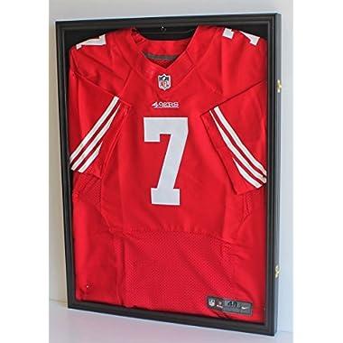 LOCKABLE, PRO UV Basketball Football Hockey Jersey Frame Display Case LOCKABLE, Black (JC01-BL)