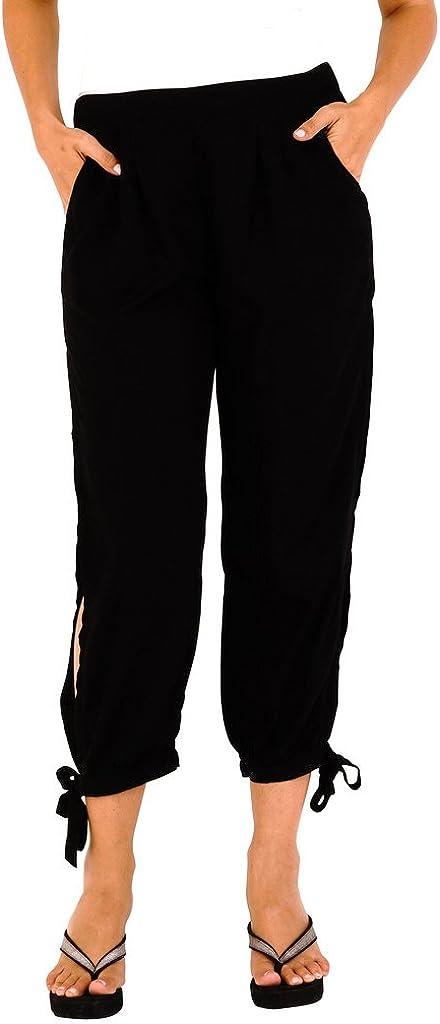 SHU-SHI Womens Harem Cropped Trouser Boho Summer Pants High Side Slits