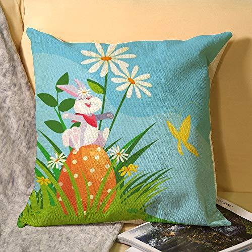 happygoluck1y - Fundas de cojín de Pascua con huevo de Pascua en el jardín, fundas de cojín de Pascua de 18 x 18, fundas de almohada de Pascua, funda de almohada decorativa para decoración del hogar, regalos de Pascua