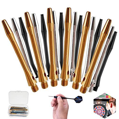 Nothers GZxcaiyun - 18 freccette in lega di alluminio resistente all'usura, con filettatura 2BA, in metallo per freccette Soft Steel (oro/nero/argento)