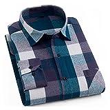 Camisetas De Franela Cepillada 100% Algodón para Hombres De Un Solo Bolsillo De Manga Larga Slim-Fit Casual Plaid Camisa A Cuadros Casual (Color : DTF 39, Size : XL.)