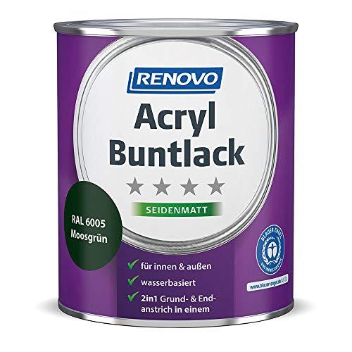 Acryl-Buntlack 2-in-1 750 ml RAL 6005 Moosgrün seidenmatt Renovo