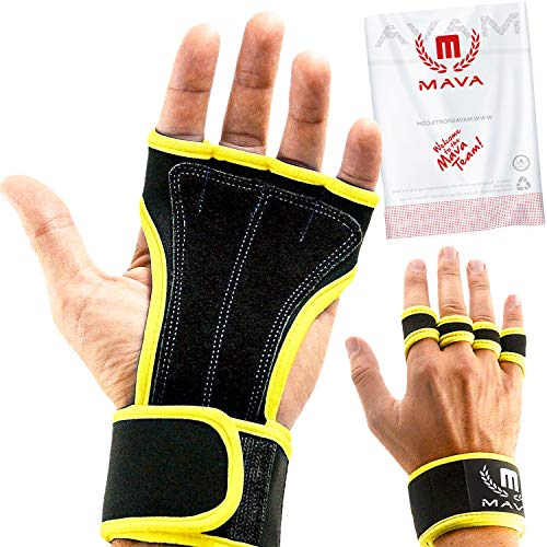 Mava Sports Workout Gloves with Wrist Wraps Support and Full Palm Leather Padding - Perfect for Weight Lifting, Cross Training, Pull Ups, WOD and Powerlifting for Men and Women (Yellow, X-Small)