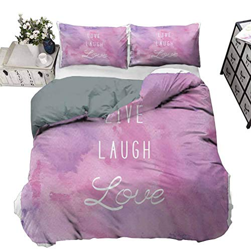 UNOSEKS LANZON Duvet Cover Dreamy Watercolors Brushstrokes with Positive Quote Soft Bedding Cover for Home, Hotel Collection Light Pink Lavander White Full - 203 x 230 CM