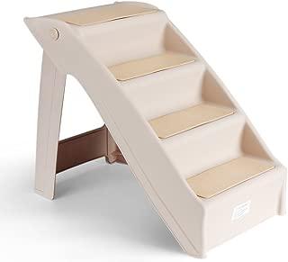 Flexzion 宠物楼梯折叠狗狗猫动物阶梯梯折叠塑料便携式高大床室内室外装饰用品轻松存放米色