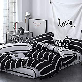 Four Piece Bedding Set Duvet Cover Set 100% Cotton Super Soft Comfy Breathable Bed Sheets Set Black and White Stripes Printing Queen Size Bed Comforter Set with Zipper Closure(Multicolor,Full/Queen)