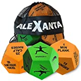 Alexanta Exercise Dice - Workout Gear for Home Gym, Fitness Gifts, Workout Dice for Exercise, Exercise Dice for Home Workouts, PE Equipment, HIIT Workout, Fitness Dice with Mesh Bag & Illustrations
