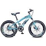YAOXI Bicicleta De Montaña con Suspensión Amortiguación Horquilla, Individual Velocidad Asiento De Esponja Bicicleta Sistema De Freno De Disco Niño-Niña MTB para IR A La Escuela,Azul,20Inch