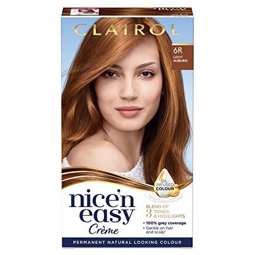 Clairol Nice'n Easy Crème, Natural Looking Oil Infused Permanent Hair Dye, 6R Light Auburn