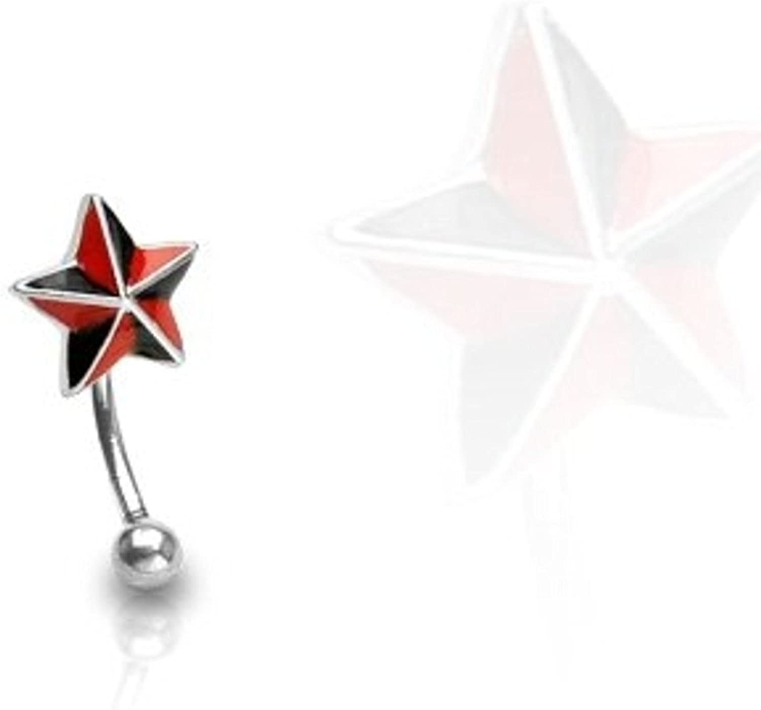 Covet Jewelry Black and Red Star 316L Surgical Steel Curve Eyebrow