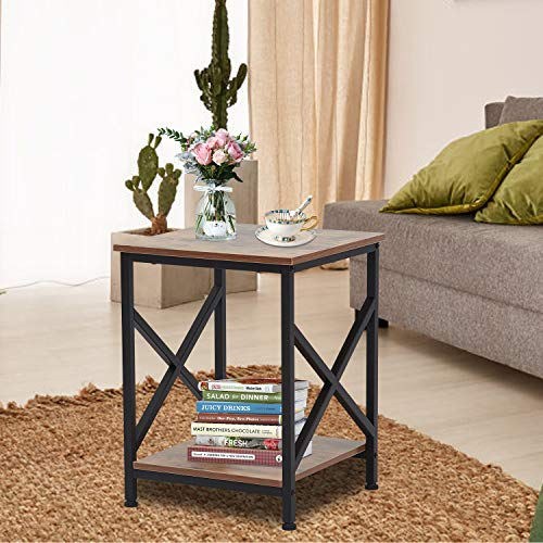 Kinsuite End Tables Nightstand Industrial Sofa Side Tables with Storage Shelf Metal Frame Accent Furniture for Living Room Bedroom, Rustic Brown