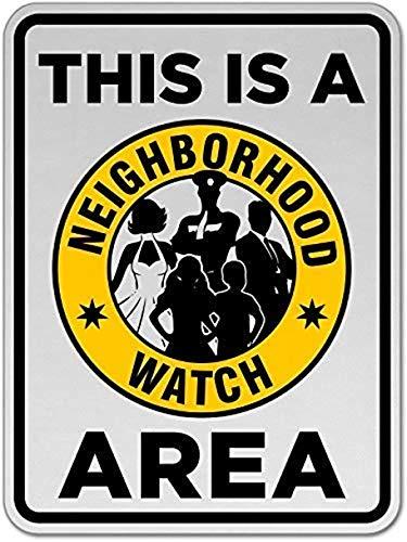 mengliangpu8190 Wijk Horlogegebied Sign, Metalen Waarschuwingsborden Privé Eigendom, Gevaar Veiligheid Teken Plaque,Poort Sign,8