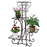 Moutik Metal Garden Plant Stands:Bronze 4 Tier Plants Patio Holder Tiered Decor Pots Plant Stand Display Flower Holder Indoor