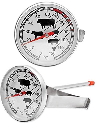 HomeTools.eu® - Hitze-beständiges analoges Thermometer, zur Kochen, Braten, Grillen, Räuchern, Halterung für Topf, Grill, Bräter, 0°C - 120 °C