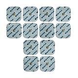 StimPads, 45X45mm, ECO-PACK de 12 unidades de alto rendimiento, electrodos TENS - EMS de larga duración con conector universal tipo snap de 3.5mm