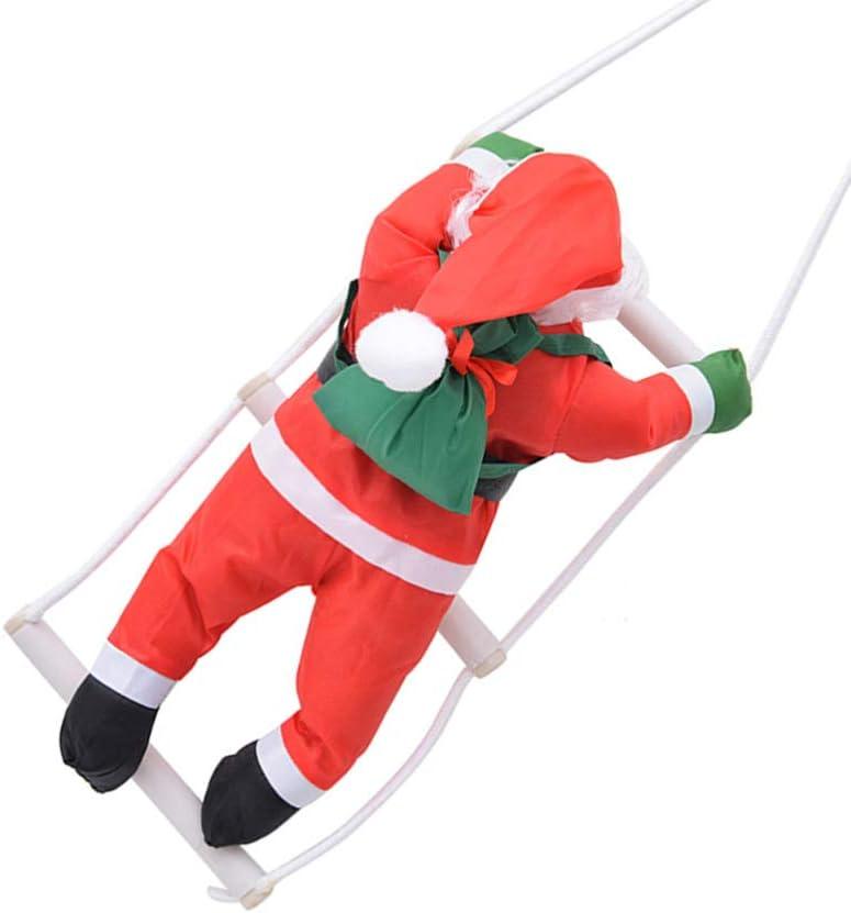 Wakauto Santa Claus Escalada en Escalera de Cuerda Columpio 40Cm Adorno Colgante de Navidad /Árbol de Navidad Decoraci/ón Colgante Ventana de Pared Interior Al Aire Libre