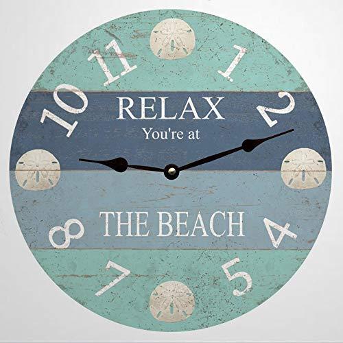 Reloj de pared redondo de madera con dólares de arena, decoración de reloj de madera rústica para el hogar, cocina, dormitorio, baño, oficina, sala de estar, comedor.