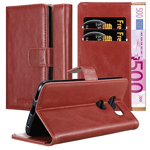 Cadorabo Custodia Libro per LG V30 in ROSSO VINACCIA - con Vani di Carte, Funzione Stand e Chiusura Magnetica - Portafoglio Cover Case Wallet Book Etui Protezione