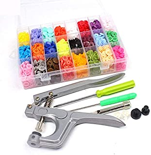 Juego de botones a presión, 360 Kam Snaps con alicates, sujetadores organizador caja de almacenamiento para costura y manualidades (24 colores, alicates para T5) #NKGJ-09A