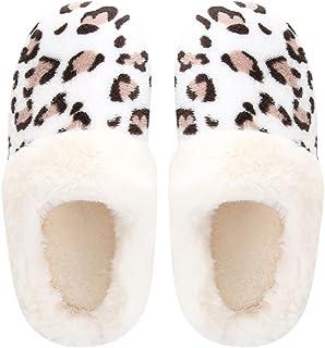 House Slippers for Women Faux Fur Leopard Pattern Warm Slippers for Women Indoor Outdoor Memory Foam Slip on Anti-Skid Sole