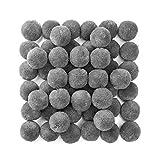 RUBY - 50 Pompones de bola para manualidades, proyectos escolares, bricolages, DIY, costura (Gris, Ø30mm)