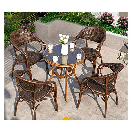 BDBT Outdoor Furniture Ratan Patio Furniture Set Glass Top Coffee Table Patio Set Coffee Table Patio Conversation Outdoor