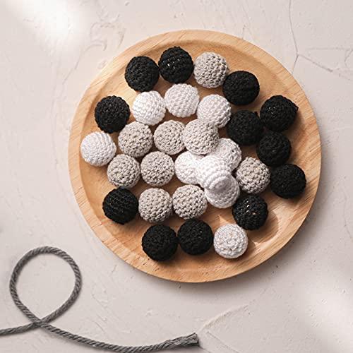 20mm dentition en bois crochet ronde perles en bois noir gris blanc Diy Mix billes en tricot perles en bois chunky crochet beadsbaby dentition jouets