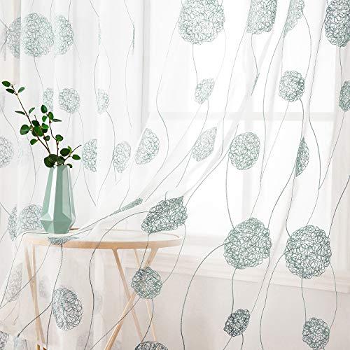 MIULEE Sheer Vorhang Voile Blumen Stickerei Vorhänge mit Ösen transparent Gardine 2 Stücke Ösenvorhang Gaze paarig schals Fensterschal für Wohnzimmer Schlafzimmer 225 cm x 140 cm(H x B) 2er-Set