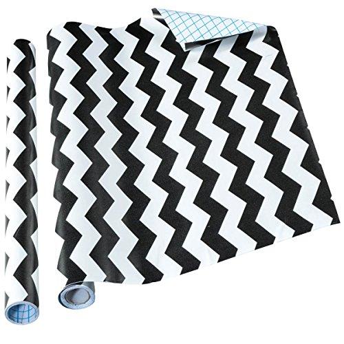 Home-it Self Adhesive Shelf Liner, 18 by 16 Inch, Black Chevron, 2 Pack (Black Chevron)