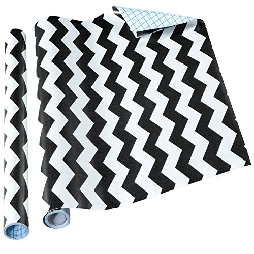 Home-it Self Adhesive Shelf Liner, 18 by 16 Inch, Black Chevron, 2 Pack (Black Chevron)