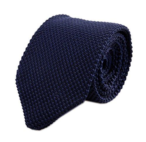 Secdtie Men Woven Silk Midnight Navy Blue Skinny Tie Slim Plain Necktie 010