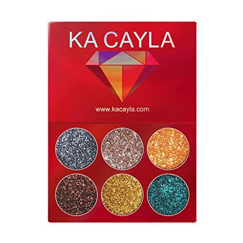 Palette de maquillage pour les yeux Glitter Makeup, Lonshell 6 paillettes brillant Glitter Visage Palette de maquillage hautement pigmentée Nail Art Make Up Body Glitter