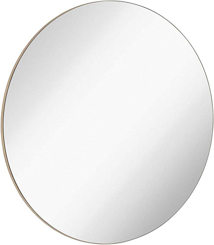 Hamilton Hills Contemporary Thin Natural Wood Edge Circular Wall Mirror Glass Panel Rounded Circle Design Vanity Mirror 30 Round