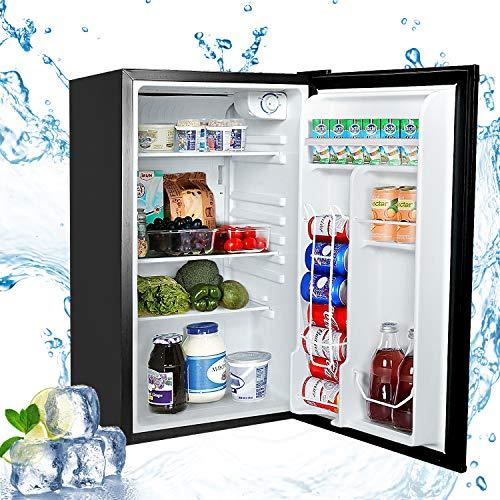 Aneken Compact Refrigerator, 3.2 Cu. Ft. Single Door Mini Fridge with Adjustable Temperature Control for Dorm, Office, Garage, Camper - Black