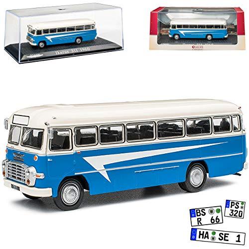 alles-meine.de GmbH Ikarus 311 Bus Blau mit Weiss 1957-1973 mit Sockel und Vitrine 1/72 Atlas Modell Auto