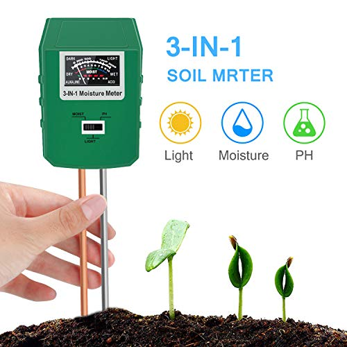 Bearbro Soil Moisture Meter,3-in-1 Soil pH Meter,Test Kit for Moisture,Great for Home and Garden, Lawn, Farm, Indoor & Outdoor Use