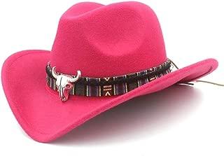 Boy Girl Wool Felt 100% Western Cowboy Hat Wide Brim Cowgirl Cow Head Leather Band (One Size:54Cm)